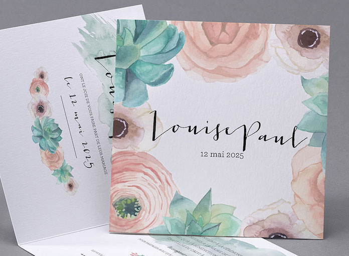 papeterie mariage pastel