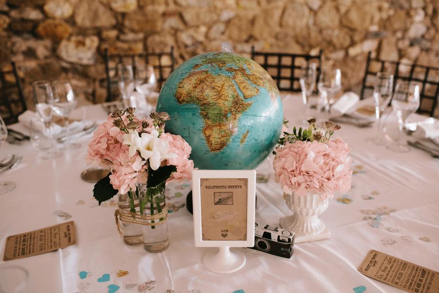 Id es pour votre mariage sur le th me du voyage - Decoration table mariage theme voyage ...