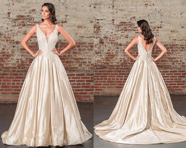 La robe de mariée Royale de Justin Alexander avec sa longue traîne et son  décolleté pour un coté glamour.
