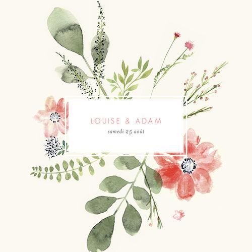faire part mariage champêtre fleurs
