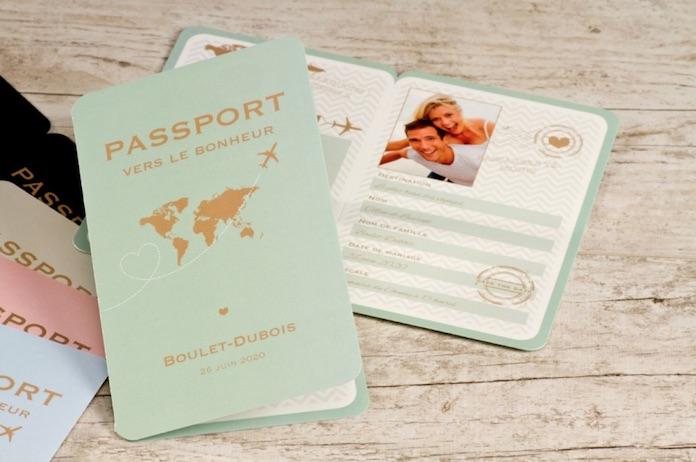 faire part mariage original voyage passeport