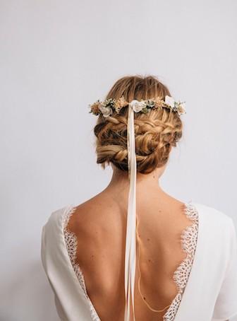 couronne de fleurs coiffure mariage
