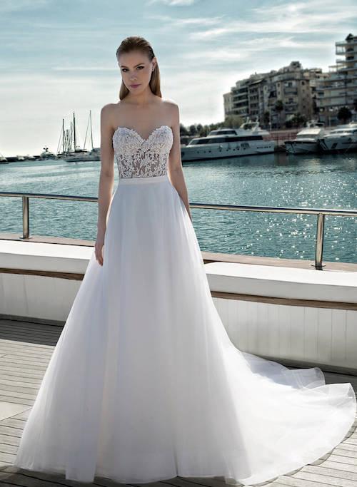 robe de mariée glamour bustier, destination romance 2019