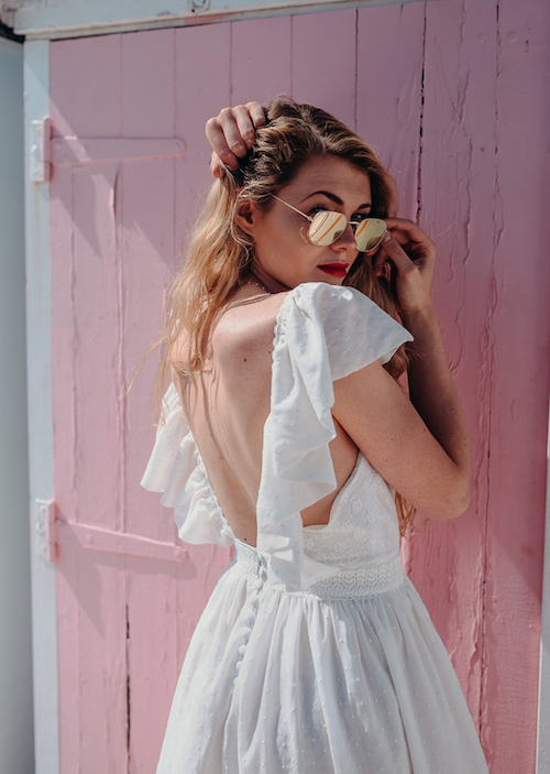 robe de mariée avec manches à volants Adeline Bauwin 2019