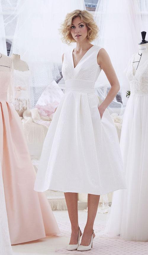 atelier emelia robe de mariée courte, coupe midi