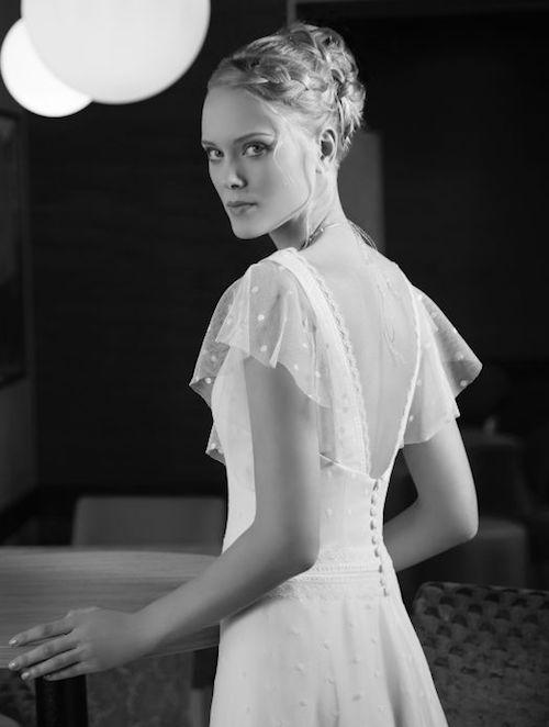 robe de mariée avec manches à volants Créations Bochet collection 2019