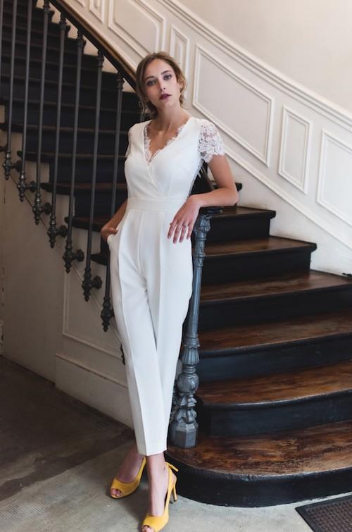 combinaison pantalon mariage, tendance mariage 2019, Harpe Paris