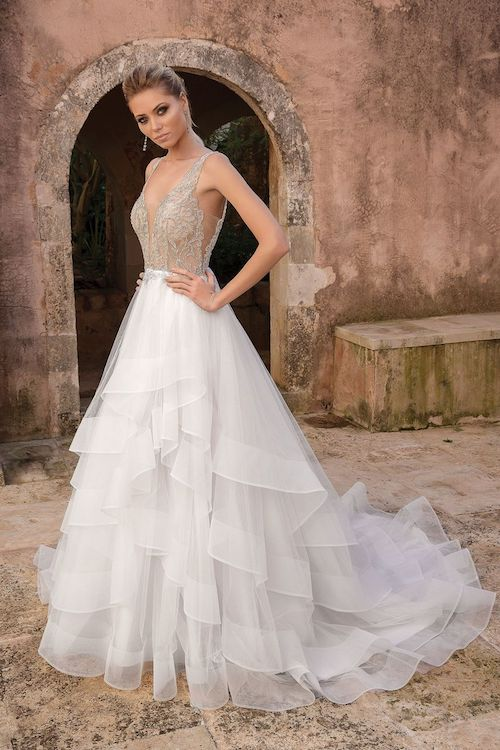 robe de mariée à volants Justin alexander