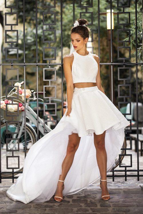 robe de mariée asymétrique Meryl Suissa 2019