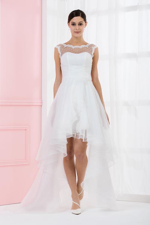 robe de mariée asymétrique Eglantine Créations 2019