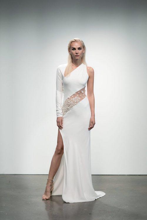 robe de mariée manches asymétriques Rime Arodaky 2019