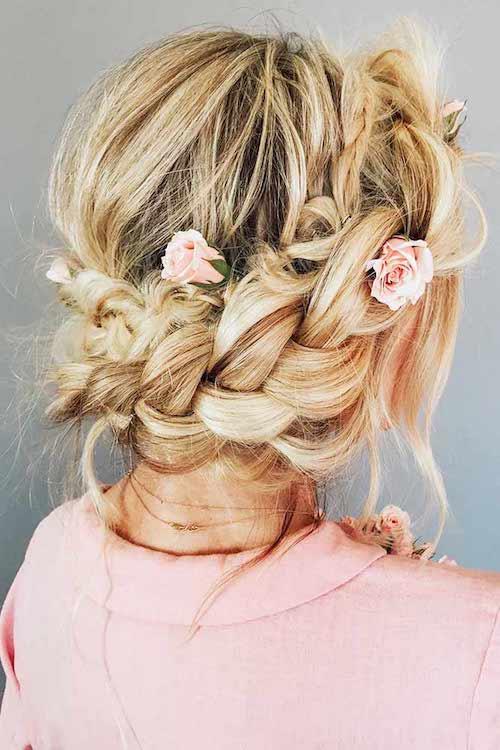 couronne tressée mariage, coiffure mariage tendance