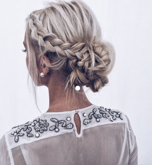 chignon tressé mariage, coiffure mariage