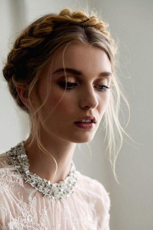 couronne tressée mariage, coiffure mariage