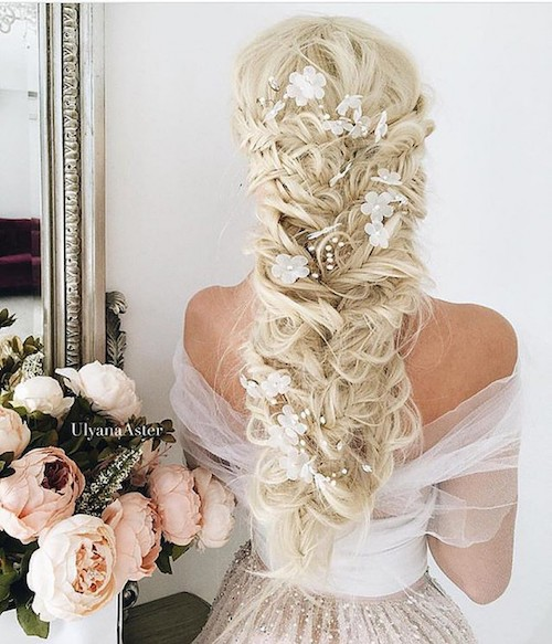 tresses mariage fleurs, coiffure mariage