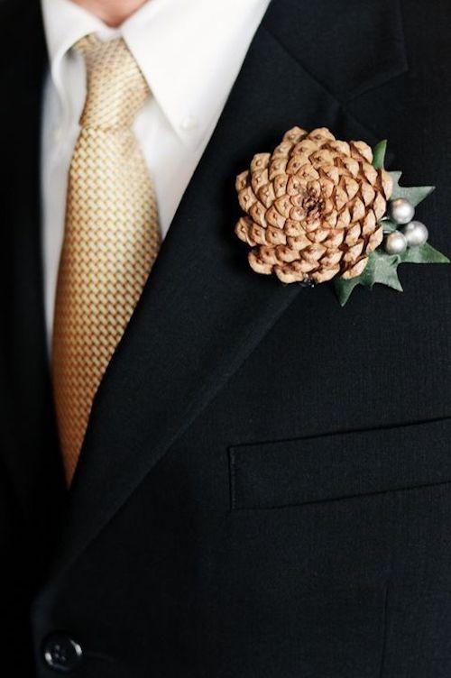 boutonnière mariage hiver
