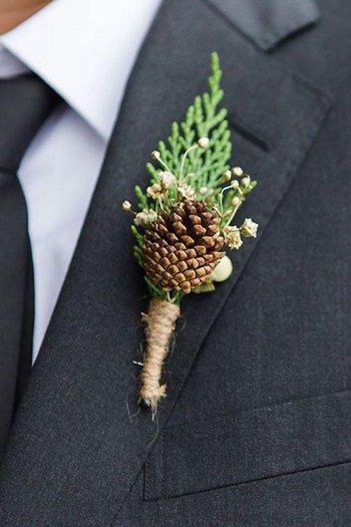 boutonnière mariage d'hiver