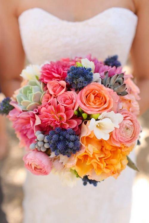 bouquet de mariage coloré