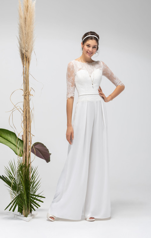 combinaison de mariée à pantalon avec manche courte dentelle