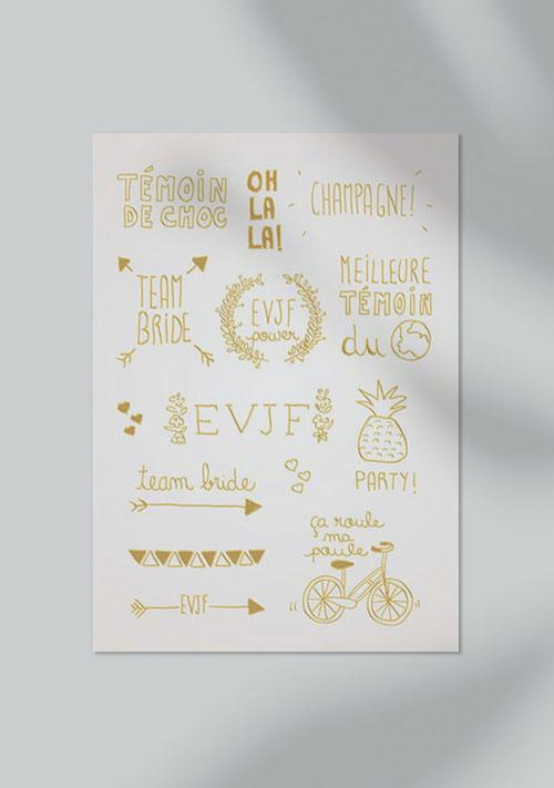 planche tatouage éphémère mariage