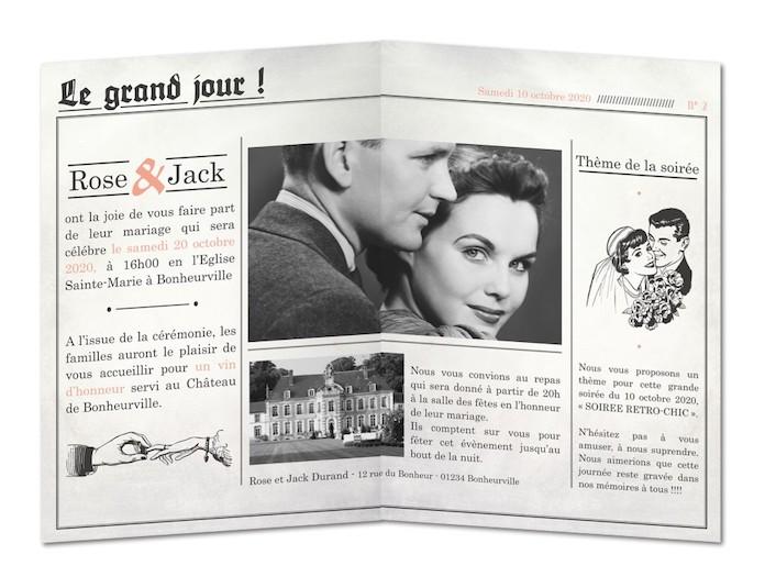 faire part mariage vintage original