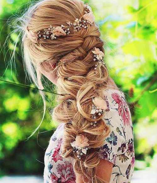 tresses mariage fleurs
