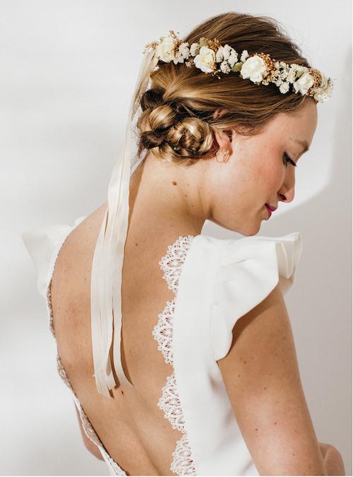 couronne fleurs mariage, accessoire coiffure mariage