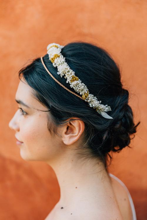 accessoire coiffure mariage, couronne de fleurs mariage