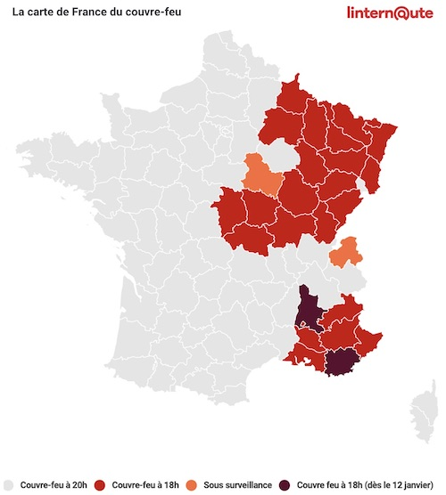 carte couvre-feu covid France