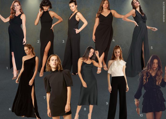 robe noire demoiselle d'honneur