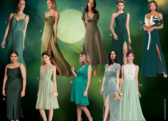 robe verte demoiselle d'honneur