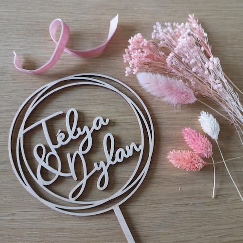 DIY mariage cake topper fleurs séchées